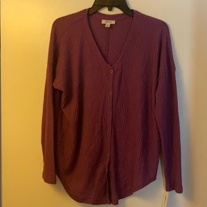 Style & Co Button Down Thermals NWT Violet LS
